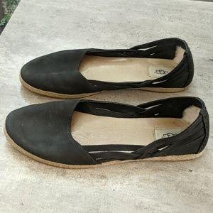 Black Leather Ugg Flats